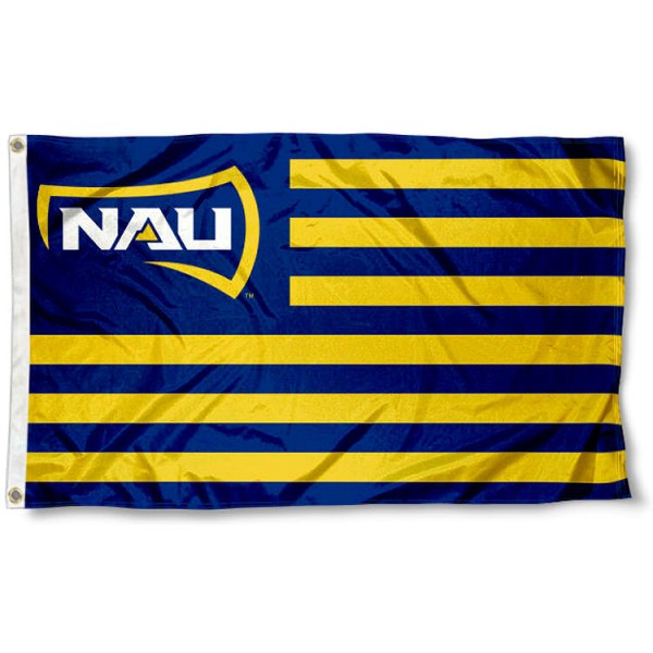 Northern Arizona Lumberjacks Stripes Flag measures 3'x5', is made of polyester, offers double stitched flyends for durability, has two metal grommets, and is viewable from both sides with a reverse image on the opposite side. Our Northern Arizona Lumberjacks Stripes Flag is officially licensed by the selected school university and the NCAA.