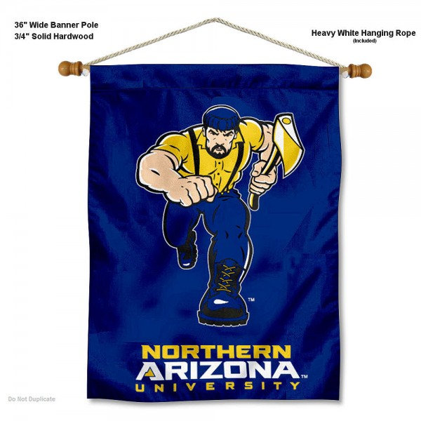 """Northern Arizona Lumberjacks Wall Banner is constructed of polyester material, measures a large 30""""x40"""", offers screen printed athletic logos, and includes a sturdy 3/4"""" diameter and 36"""" wide banner pole and hanging cord. Our Northern Arizona Lumberjacks Wall Banner is Officially Licensed by the selected college and NCAA."""