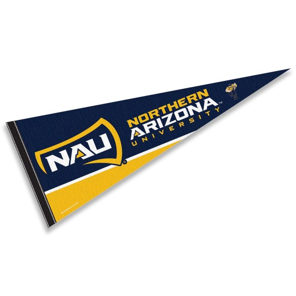 Northern Arizona University Felt Pennant consists of our full size sports pennant which measures 12x30 inches, is constructed of felt, is single sided imprinted, and offers a pennant sleeve for insertion of a pennant stick, if desired. This NAU Lumberjacks Felt Pennant is officially licensed by the selected university and the NCAA.