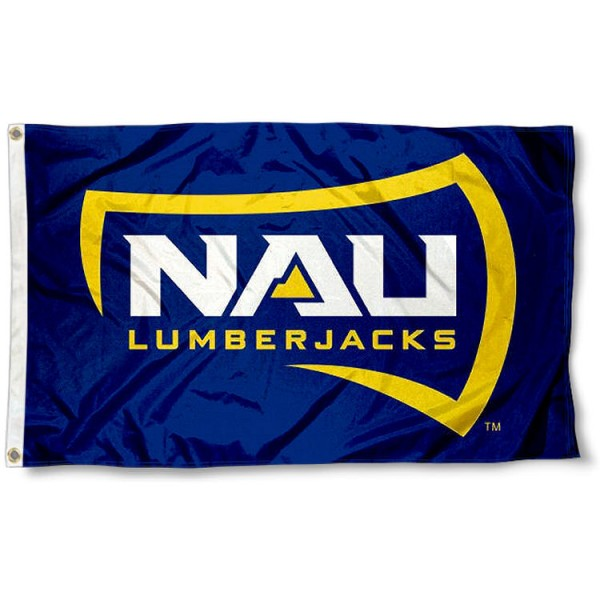 Northern Arizona University Flag measures 3'x5', is made of 100% poly, has quadruple stitched sewing, two metal grommets, and has double sided NAU Lumberjacks logos. Our Northern Arizona University Flag is officially licensed by NAU Lumberjacks and the NCAA.