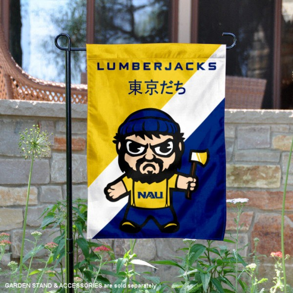 Northern Arizona University Tokyodachi Mascot Yard Flag is 13x18 inches in size, is made of double layer polyester, screen printed university athletic logos and lettering, and is readable and viewable correctly on both sides. Available same day shipping, our Northern Arizona University Tokyodachi Mascot Yard Flag is officially licensed and approved by the university and the NCAA.