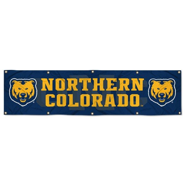 Northern Colorado Bears 8 Foot Large Banner measures 2x8 feet and displays Northern Colorado Bears logos. Our Northern Colorado Bears 8 Foot Large Banner is made of thick polyester and ten grommets around the perimeter for hanging securely. These banners for Northern Colorado Bears are officially licensed by the NCAA.
