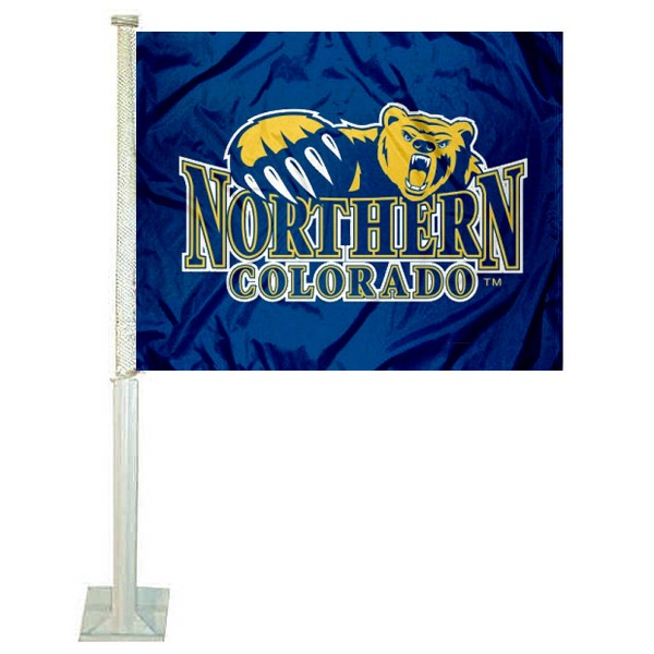 Northern Colorado Bears Car Window Flag measures 12x15 inches, is constructed of sturdy 2 ply polyester, and has dye sublimated school logos which are readable and viewable correctly on both sides. Northern Colorado Bears Car Window Flag is officially licensed by the NCAA and selected university.