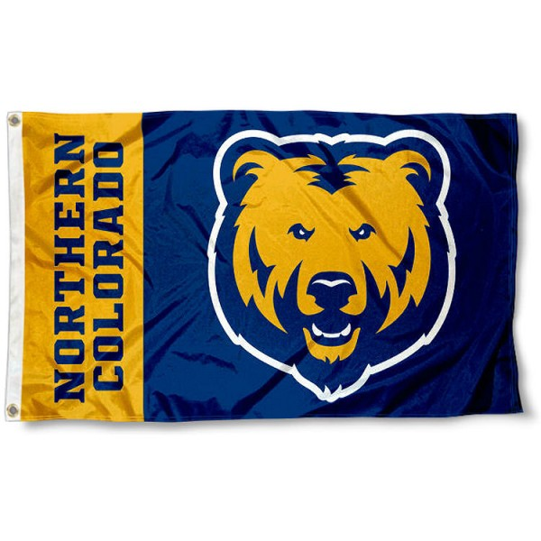 Northern Colorado Bears Flag measures 3x5 feet, is made of 100% polyester, offers quadruple stitched flyends, has two metal grommets, and offers screen printed NCAA team logos and insignias. Our Northern Colorado Bears Flag is officially licensed by the selected university and NCAA.