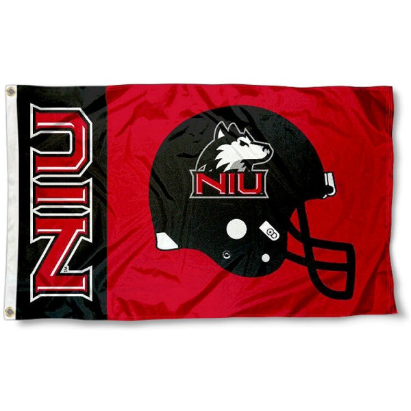 Northern Illinois Football Flag measures 3'x5', is made of 100% poly, has quadruple stitched sewing, two metal grommets, and has double sided Northern Illinois logos. Our Northern Illinois Football Flag is officially licensed by the selected university and the NCAA.