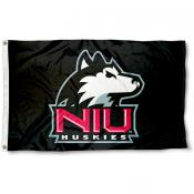 Northern Illinois Huskies Black Logo Flag