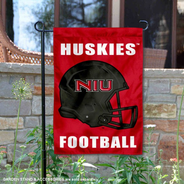 Northern Illinois Huskies Helmet Yard Garden Flag is 13x18 inches in size, is made of 2-layer polyester with Liner, screen printed university athletic logos and lettering, and is readable and viewable correctly on both sides. Available same day shipping, our Northern Illinois Huskies Helmet Yard Garden Flag is officially licensed and approved by the university and the NCAA.