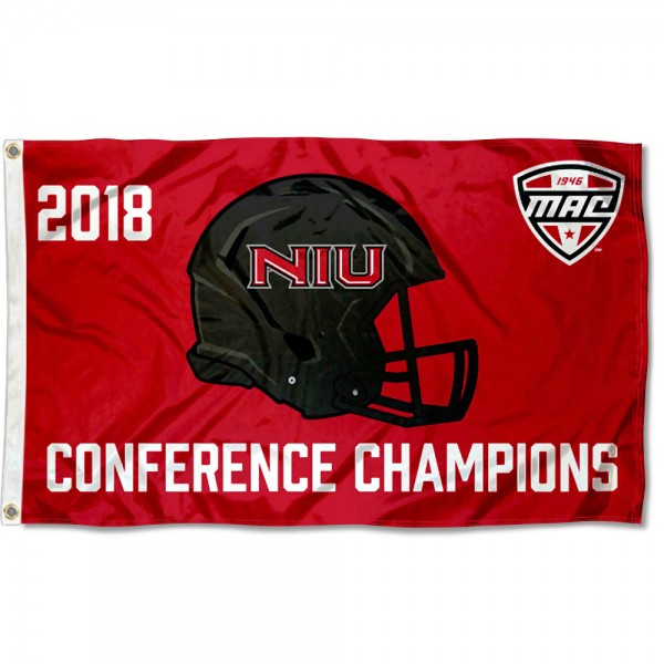 Northern Illinois Huskies MAC 2018 Football Champions Flag measures 3x5 feet, is made of 100% polyester, offers quadruple stitched flyends, has two metal grommets, and offers screen printed NCAA team logos and insignias. Our Northern Illinois Huskies MAC 2018 Football Champions Flag is officially licensed by the selected university and NCAA.