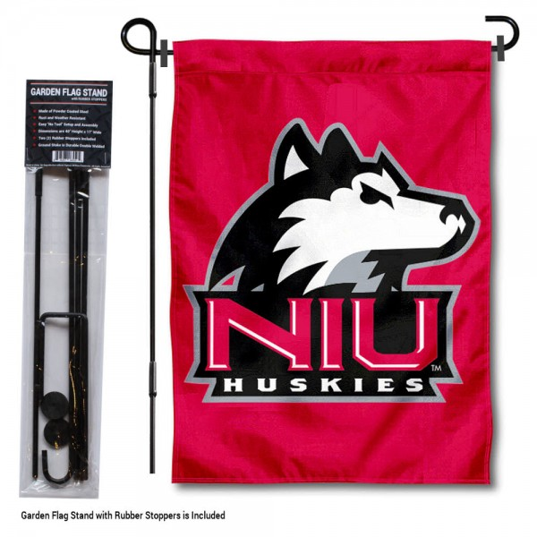 "Northern Illinois Huskies Red Garden Flag and Pole Stand kit includes our 13""x18"" garden banner which is made of 2 ply poly with liner and has screen printed licensed logos. Also, a 40""x17"" inch garden flag stand is included so your Northern Illinois Huskies Red Garden Flag and Pole Stand is ready to be displayed with no tools needed for setup. Fast Overnight Shipping is offered and the flag is Officially Licensed and Approved by the selected team."