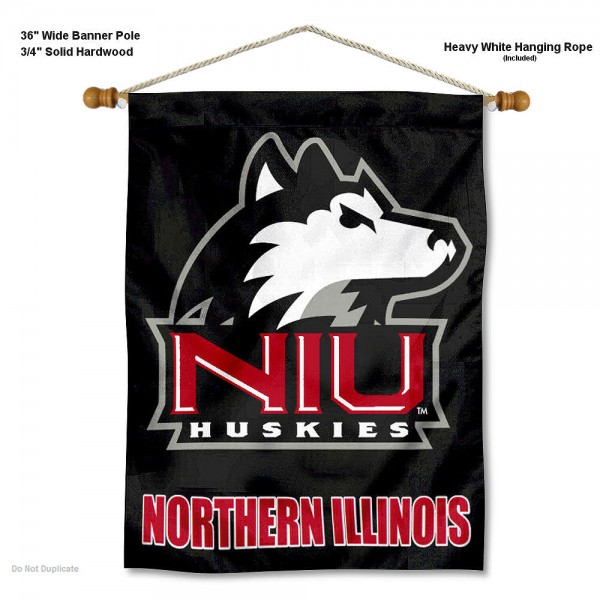 "Northern Illinois Huskies Wall Banner is constructed of polyester material, measures a large 30""x40"", offers screen printed athletic logos, and includes a sturdy 3/4"" diameter and 36"" wide banner pole and hanging cord. Our Northern Illinois Huskies Wall Banner is Officially Licensed by the selected college and NCAA."