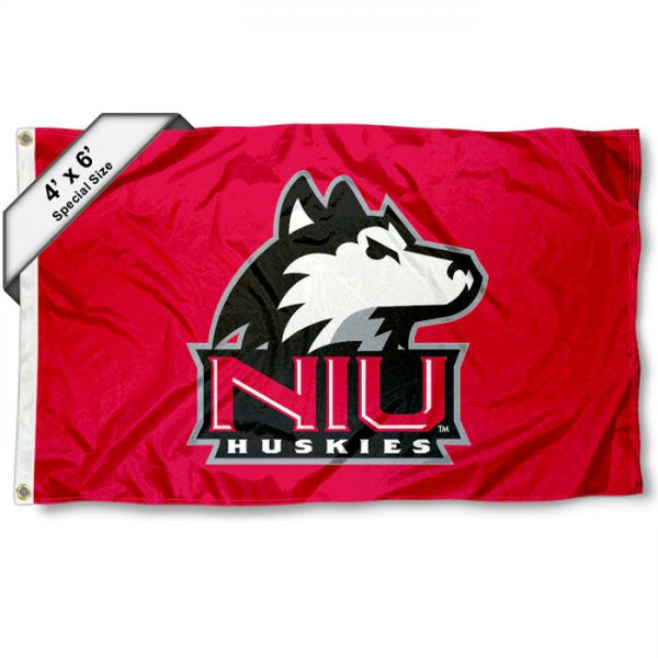 Northern Illinois University Large 4x6 Flag measures 4x6 feet, is made thick woven polyester, has quadruple stitched flyends, two metal grommets, and offers screen printed NCAA Northern Illinois University Large athletic logos and insignias. Our Northern Illinois University Large 4x6 Flag is officially licensed by Northern Illinois University and the NCAA.