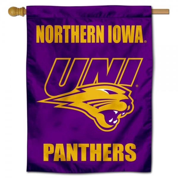 Northern Iowa Panthers Double Sided House Flag is a vertical house flag which measures 30x40 inches, is made of 2 ply 100% polyester, offers screen printed NCAA team insignias, and has a top pole sleeve to hang vertically. Our Northern Iowa Panthers Double Sided House Flag is officially licensed by the selected university and the NCAA.
