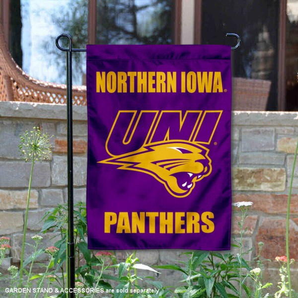 Northern Iowa Panthers New Logo Garden Flag is 13x18 inches in size, is made of 2-layer polyester, screen printed university athletic logos and lettering, and is readable and viewable correctly on both sides. Available same day shipping, our Northern Iowa Panthers New Logo Garden Flag is officially licensed and approved by the university and the NCAA.