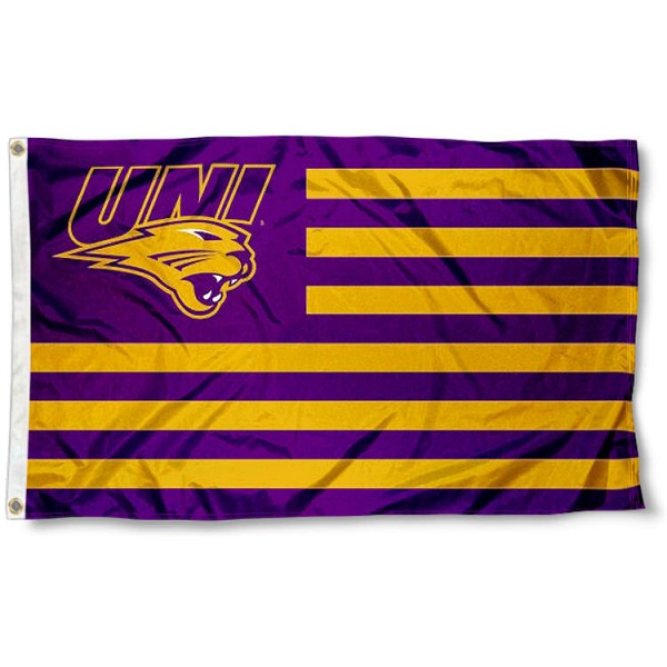 Northern Iowa Panthers Stripes Flag measures 3'x5', is made of polyester, offers double stitched flyends for durability, has two metal grommets, and is viewable from both sides with a reverse image on the opposite side. Our Northern Iowa Panthers Stripes Flag is officially licensed by the selected school university and the NCAA.