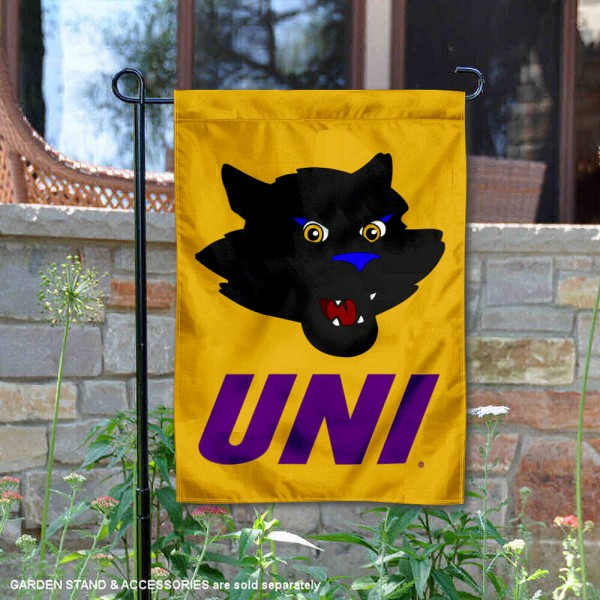 Northern Iowa Panthers TC Mascot Garden Flag is 13x18 inches in size, is made of 2-layer polyester, screen printed university athletic logos and lettering. Available with Same Day Express Shipping, our Northern Iowa Panthers TC Mascot Garden Flag is officially licensed and approved by the university and the NCAA.