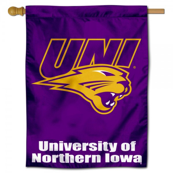 """Northern Iowa Panthers UNI Logo Banner Flag is constructed of polyester material, is a vertical house flag, measures 30""""x40"""", offers screen printed athletic insignias, and has a top pole sleeve to hang vertically. Our Northern Iowa Panthers UNI Logo Banner Flag is Officially Licensed by Northern Iowa Panthers and NCAA."""