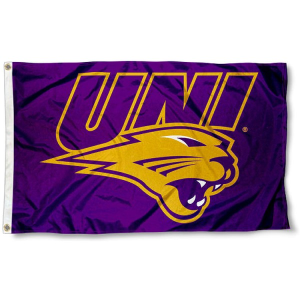 Northern Iowa Panthers UNI Logo Flag measures 3x5 feet, is made of 100% polyester, offers quadruple stitched flyends, has two metal grommets, and offers screen printed NCAA team logos and insignias. Our Northern Iowa Panthers UNI Logo Flag is officially licensed by the selected university and NCAA.