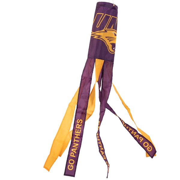 "Northern Iowa Panthers Windsock measures 40"" in length by 5"" in width, is made of 100% polyester, offers screen printed NCAA team logos, team names and insignias, has 6 alternative colored streamers and tails, includes a double stringed bridle and hanging swivel clip, and our Northern Iowa Panthers Windsock is authentic, licensed, and approved by the selected university or team."