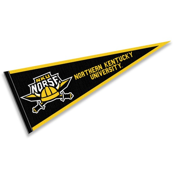 Northern Kentucky Norse Pennant consists of our full size sports pennant which measures 12x30 inches, is constructed of felt, is single sided imprinted, and offers a pennant sleeve for insertion of a pennant stick, if desired. This Northern Kentucky Norse Pennant Decorations is Officially Licensed by the selected university and the NCAA.