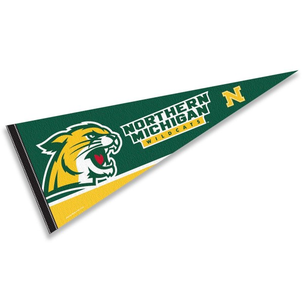 Northern Michigan University Pennant consists of our full size sports pennant which measures 12x30 inches, is constructed of felt, is single sided imprinted, and offers a pennant sleeve for insertion of a pennant stick, if desired. This Northern Michigan University Felt Pennant is officially licensed by the selected university and the NCAA.