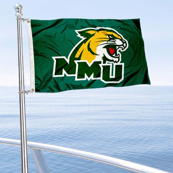 Northern Michigan Wildcats Boat and Mini Flag is 12x18 inches, polyester, offers quadruple stitched flyends for durability, has two metal grommets, and is double sided. Our mini flags for Northern Michigan University are licensed by the university and NCAA and can be used as a boat flag, motorcycle flag, golf cart flag, or ATV flag.