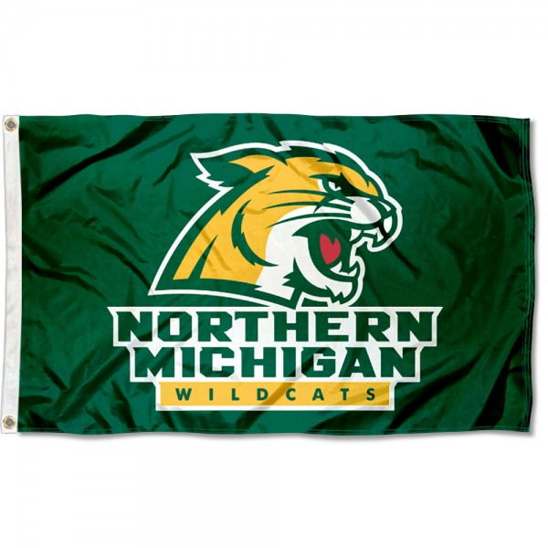 Northern Michigan Wildcats Flag measures 3x5 feet, is made of 100% polyester, offers quadruple stitched flyends, has two metal grommets, and offers screen printed NCAA team logos and insignias. Our Northern Michigan Wildcats Flag is officially licensed by the selected university and NCAA.