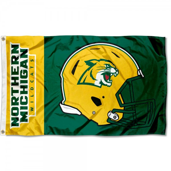 Northern Michigan Wildcats Football Helmet Flag measures 3x5 feet, is made of 100% polyester, offers quadruple stitched flyends, has two metal grommets, and offers screen printed NCAA team logos and insignias. Our Northern Michigan Wildcats Football Helmet Flag is officially licensed by the selected university and NCAA.