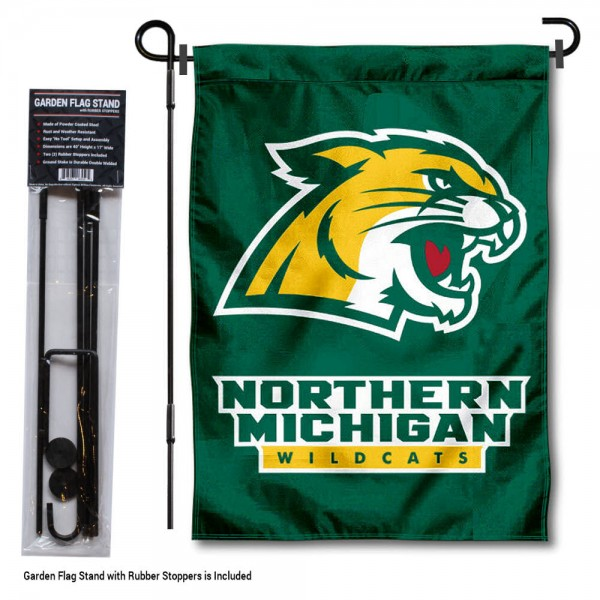 Northern Michigan Wildcats Garden Flag and Pole Stand Mount