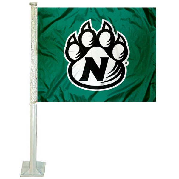 Northwest Missouri State Bearcats Car Window Flag measures 12x15 inches, is constructed of sturdy 2 ply polyester, and has screen printed school logos which are readable and viewable correctly on both sides. Northwest Missouri State Bearcats Car Window Flag is officially licensed by the NCAA and selected university.