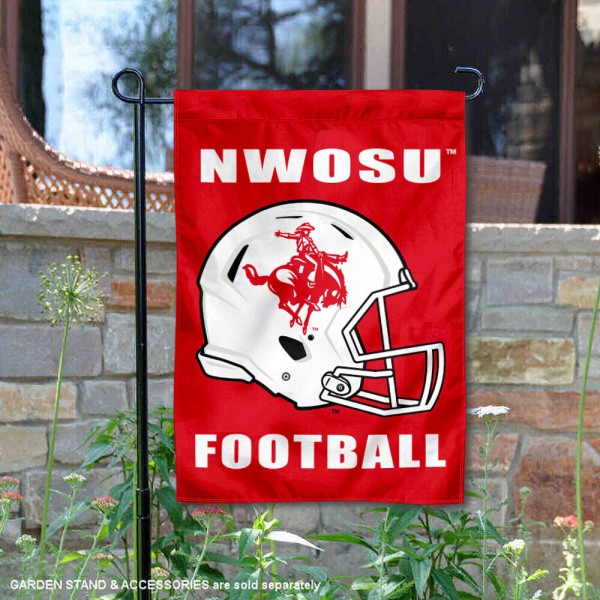 Northwestern Oklahoma State Rangers Helmet Yard Garden Flag is 13x18 inches in size, is made of 2-layer polyester with Liner, screen printed university athletic logos and lettering, and is readable and viewable correctly on both sides. Available same day shipping, our Northwestern Oklahoma State Rangers Helmet Yard Garden Flag is officially licensed and approved by the university and the NCAA.
