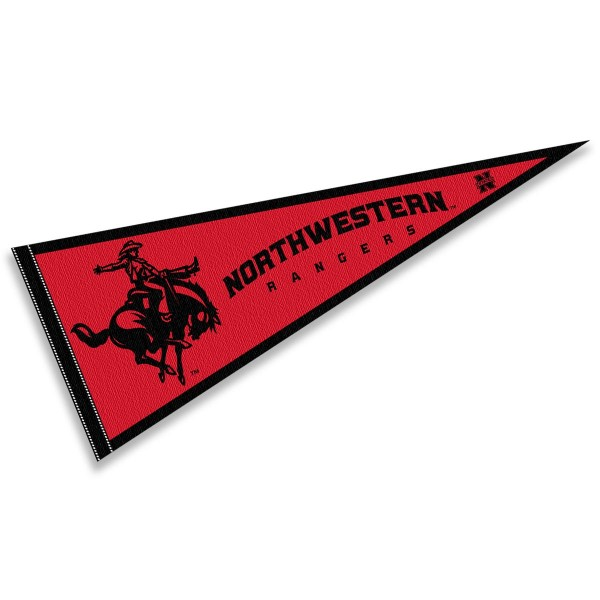 Northwestern Oklahoma State Rangers Pennant consists of our full size sports pennant which measures 12x30 inches, is constructed of felt, is single sided imprinted, and offers a pennant sleeve for insertion of a pennant stick, if desired. This Northwestern Oklahoma State Rangers Pennant Decorations is Officially Licensed by the selected university and the NCAA.