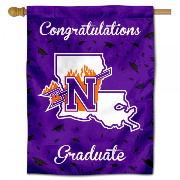 Northwestern State Demons Congratulations Graduate Flag measures 30x40 inches, is made of poly, has a top hanging sleeve, and offers dye sublimated Northwestern State Demons logos. This Decorative Northwestern State Demons Congratulations Graduate House Flag is officially licensed by the NCAA.