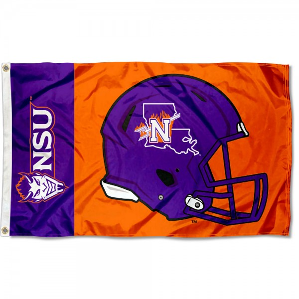 Northwestern State Demons Football Helmet Flag measures 3x5 feet, is made of 100% polyester, offers quadruple stitched flyends, has two metal grommets, and offers screen printed NCAA team logos and insignias. Our Northwestern State Demons Football Helmet Flag is officially licensed by the selected university and NCAA.