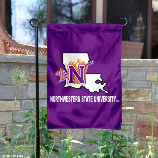 Northwestern State University Garden Flag is 13x18 inches in size, is made of 2-layer polyester, screen printed Northwestern State University athletic logos and lettering. Available with Same Day Express Shipping, Our Northwestern State University Garden Flag is officially licensed and approved by Northwestern State University and the NCAA.