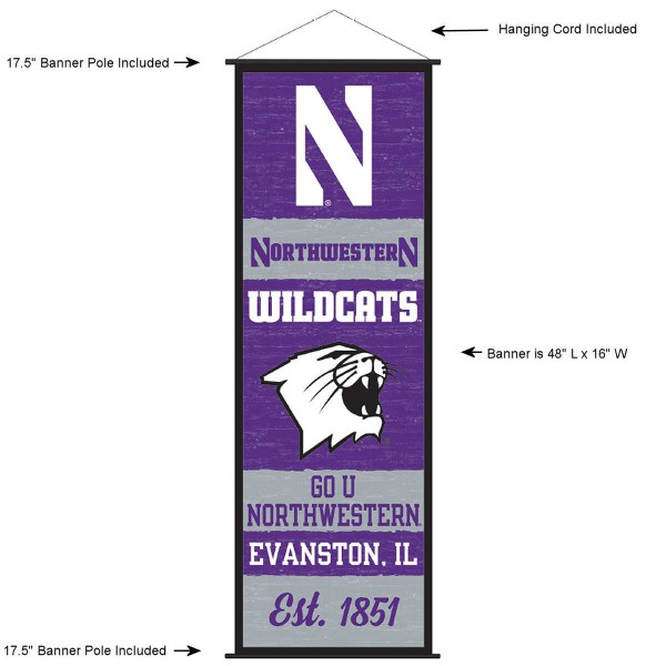 """This """"ready to hang"""" Northwestern University Decor and Banner is made of polyester material, measures a large 17.5"""" x 48"""", offers screen printed athletic logos, and includes both top and bottom 3/4"""" diameter plastic banner poles and hanging cord. Our Northwestern University D�cor and Banner is Officially Licensed by the selected college and NCAA."""