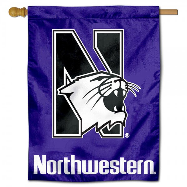 "Northwestern University Decorative Flag is constructed of polyester material, is a vertical house flag, measures 30""x40"", offers screen printed athletic insignias, and has a top pole sleeve to hang vertically. Our Northwestern University Decorative Flag is Officially Licensed by Northwestern University and NCAA."