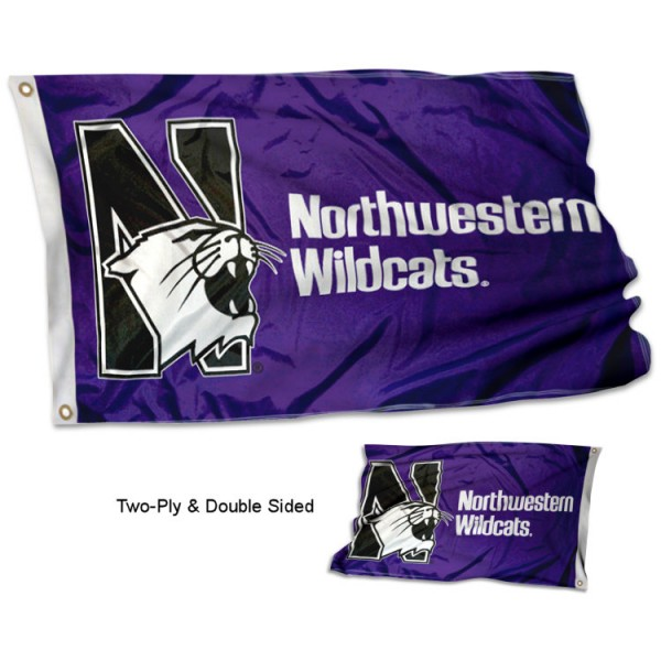 Northwestern University Flag measures 3'x5' in size, is made of 2 layer polyester, has quadruple stitched fly ends for durability, and is viewable and readable correctly on both sides. Our Northwestern University Flag is officially licensed by the university, school, and the NCAA