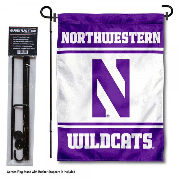 "Northwestern University Garden Flag and Stand kit includes our 13""x18"" garden banner which is made of 2 ply poly with liner and has screen printed licensed logos. Also, a 40""x17"" inch garden flag stand is included so your Northwestern University Garden Flag and Stand is ready to be displayed with no tools needed for setup. Fast Overnight Shipping is offered and the flag is Officially Licensed and Approved by the selected team."
