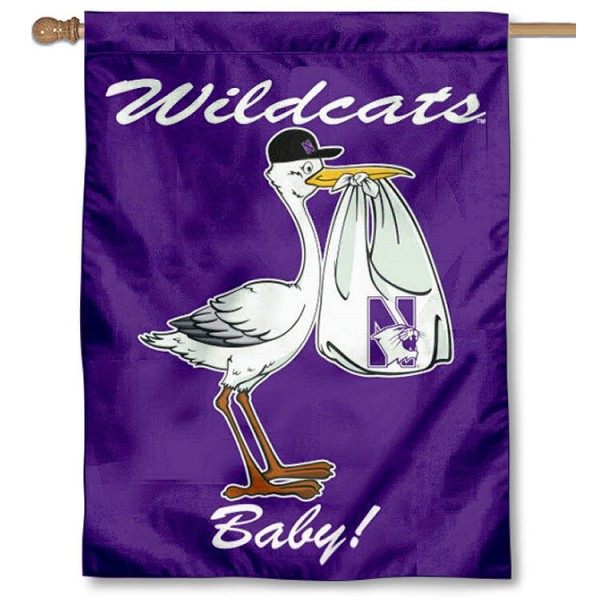 Northwestern University New Baby Flag measures 30x40 inches, is made of poly, has a top hanging sleeve, and offers dye sublimated NU Wildcats logos. This Decorative Northwestern University New Baby House Flag is officially licensed by the NCAA.