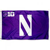 Northwestern Wildcats Big 10 N Logo Flag