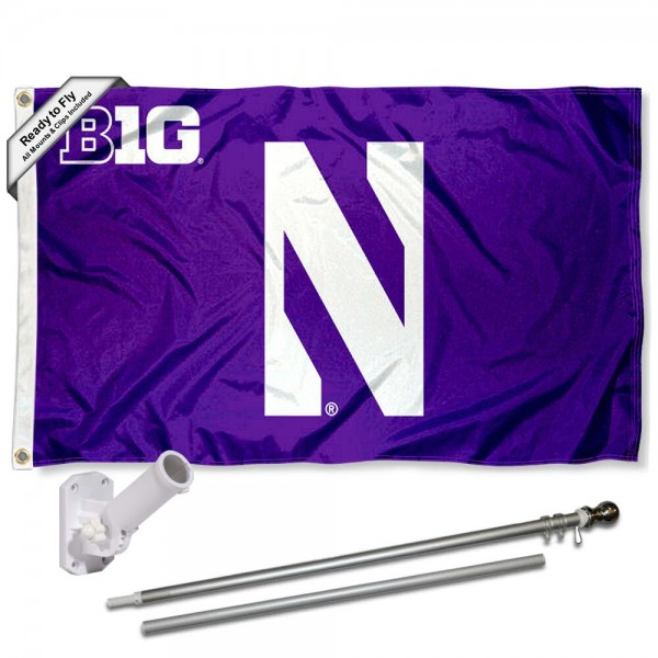 Our Northwestern Wildcats Big Ten Flag Pole and Bracket Kit includes the flag as shown and the recommended flagpole and flag bracket. The flag is made of polyester, has quad-stitched flyends, and the NCAA Licensed team logos are double sided screen printed. The flagpole and bracket are made of rust proof aluminum and includes all hardware so this kit is ready to install and fly.