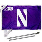 Northwestern Wildcats Big Ten Flag Pole and Bracket Kit