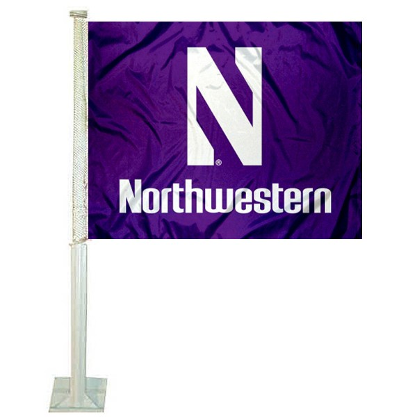Northwestern Wildcats Car Window Flag measures 12x15 inches, is constructed of sturdy 2 ply polyester, and has screen printed school logos which are readable and viewable correctly on both sides. Northwestern Wildcats Car Window Flag is officially licensed by the NCAA and selected university.