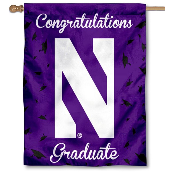Northwestern Wildcats Congratulations Graduate Flag measures 30x40 inches, is made of poly, has a top hanging sleeve, and offers dye sublimated Northwestern Wildcats logos. This Decorative Northwestern Wildcats Congratulations Graduate House Flag is officially licensed by the NCAA.
