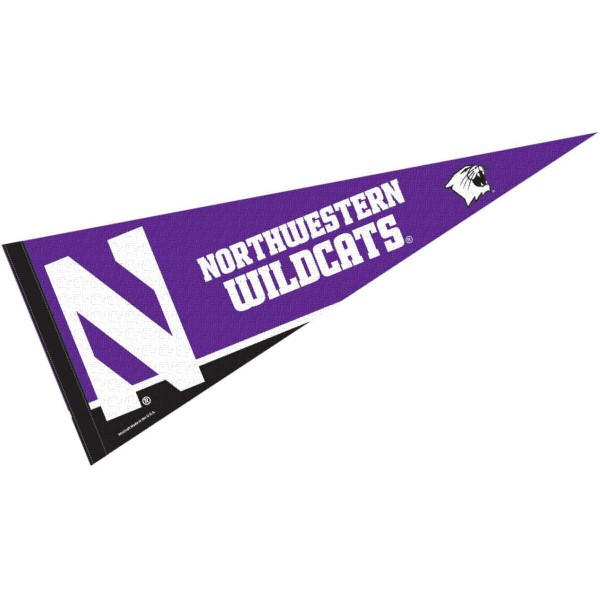 Northwestern Wildcats Felt Pennant consists of our full size sports pennant which measures 12x30 inches, is constructed of felt, is single sided imprinted, and offers a pennant sleeve for insertion of a pennant stick, if desired. This NU Wildcats Felt Pennant is officially licensed by the selected university and the NCAA.