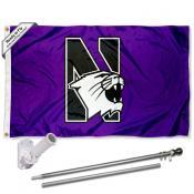 Northwestern Wildcats Flag Pole and Bracket Kit
