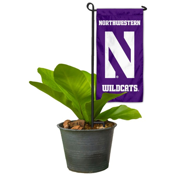 "Northwestern Wildcats Flower Pot Topper Flag kit includes our 4""x8"" mini garden banner and 6"" x 14"" mini garden banner stand. The mini flag is made of 1-ply polyester, has screen printed logos and the garden stand is made of steel and powder coated black. This kit is NCAA Officially Licensed by the selected college or university."