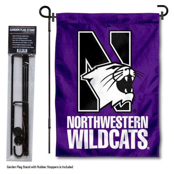 "Northwestern Wildcats Garden Flag and Pole Stand kit includes our 13""x18"" garden banner which is made of 2 ply poly with liner and has screen printed licensed logos. Also, a 40""x17"" inch garden flag stand is included so your Northwestern Wildcats Garden Flag and Pole Stand is ready to be displayed with no tools needed for setup. Fast Overnight Shipping is offered and the flag is Officially Licensed and Approved by the selected team."