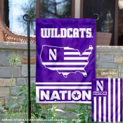 Northwestern Wildcats Garden Flag with USA Country Stars and Stripes