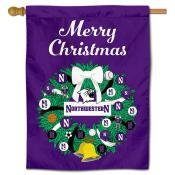 Northwestern Wildcats Happy Holidays Banner Flag